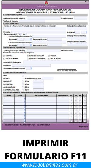 Cómo completar el formulario F11 para solicitar la baja y renovación anual de la asignación familiar