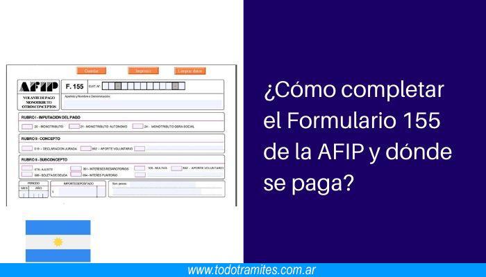 Cómo completar el Formulario 155 de la AFIP y dónde se paga