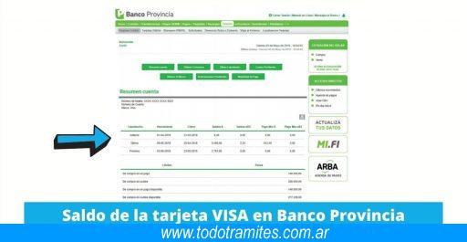 Cómo consultar el saldo de Tarjeta VISA del Banco Provincia