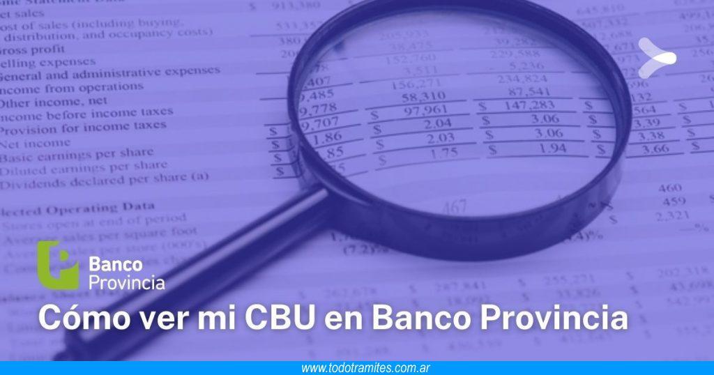 Cómo saber mi CBU de Banco Provincia