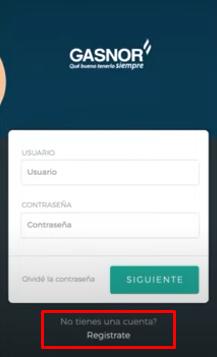 crear usuario gasnor por la app