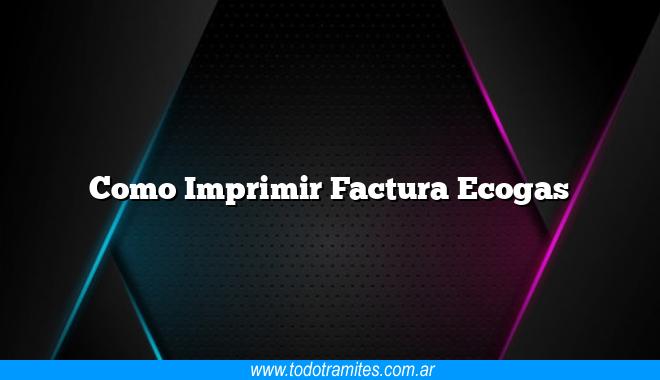Como Imprimir Factura Ecogas